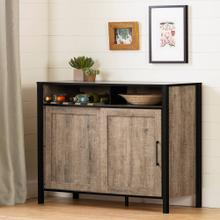 Buffet with Sliding Door - Weathered Oak and Matte Black