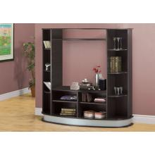 See Details - BOOKCASE - ESPRESSO WITH A SILVER BASE / STORAGE UNIT