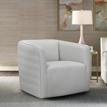 See Details - Melanie Swivel Dove Gray Genuine Leather Barrel Chair