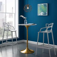 "Lippa 28"" Wood Top Bar Table in Gold White"