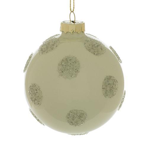 """Accent Decor - Polka Dot Ornament (Size:3"""", Color:Silver)"""