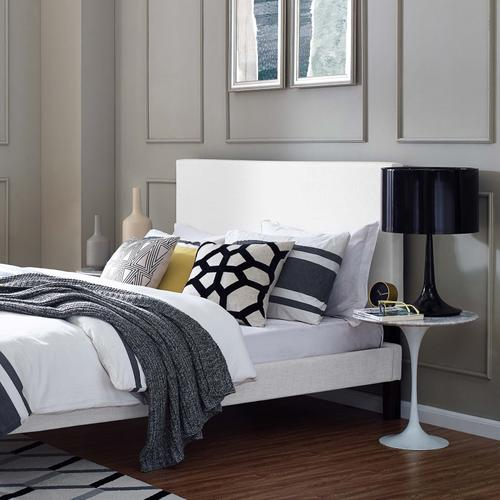 Modway - Taylor Full / Queen Upholstered Linen Fabric Headboard in White
