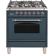 Nostalgie 30 Inch Dual Fuel Liquid Propane Freestanding Range in Blue Grey with Bronze Trim