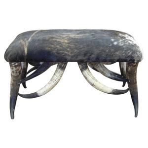 """Cowhide Horns 3"""" Bench"""