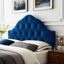 View Product - Sovereign Queen Diamond Tufted Performance Velvet Headboard in Navy