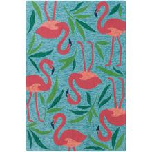 Best Seller Fancy Flamingo Rug, AQUA, 26X8