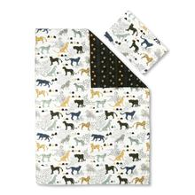 Dreamit - Comforter and Pillowcase Safari Wild Cats, White and Green, Twin