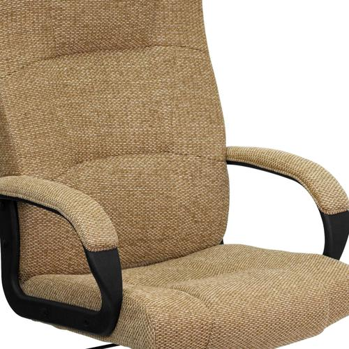 Gallery - High Back Beige Fabric Executive Swivel Office Chair with Arms