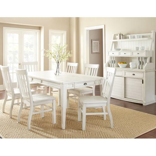 "Cayla 64-80 inch Table w/16"" Leaf, White"