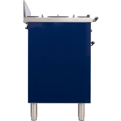 Nostalgie 30 Inch Gas Natural Gas Freestanding Range in Blue with Bronze Trim