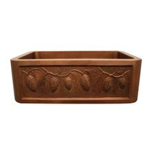 """Copperhaus rectangular undermount sink with a pinecone design front apron and a 3 1/2"""" center drain - 14 gauge copper sink."""