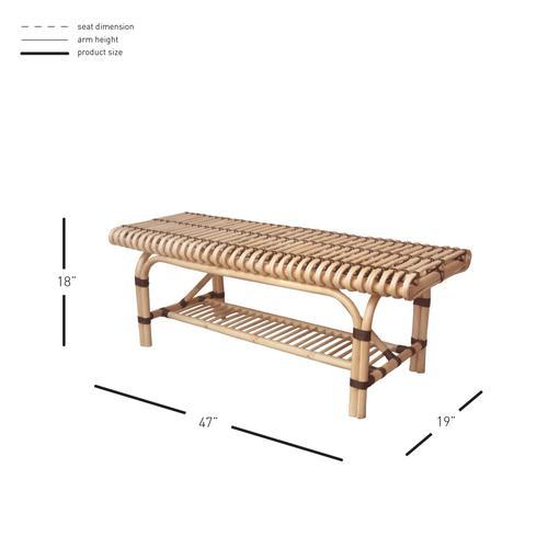 Baza Rattan Bench w/ Shelf, Natural/ Black