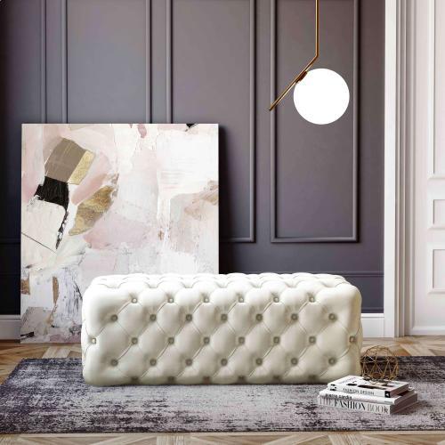 Tov Furniture - Kaylee Cream Velvet Tufted Ottoman