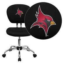 St. John Fisher College Cardinals Embroidered Black Mesh Task Chair with Chrome Base