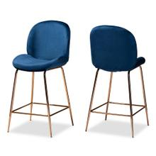 See Details - Baxton Studio Lander Modern Luxe and Glam Navy Blue Velvet Fabric Upholstered and Rose Gold Finished Metal 2-Piece Counter Stool Set