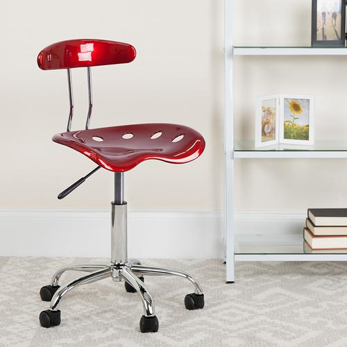 Flash Furniture - Vibrant Wine Red and Chrome Swivel Task Office Chair with Tractor Seat