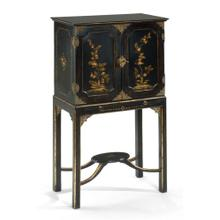 Chinoiserie collectors cabinet black (Small)