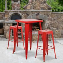 "Commercial Grade 23.75"" Square Red Metal Indoor-Outdoor Bar Table Set with 2 Square Seat Backless Stools"