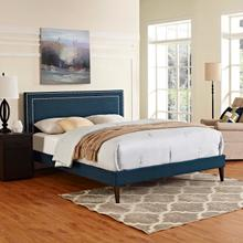 View Product - Virginia King Fabric Platform Bed with Squared Tapered Legs in Azure