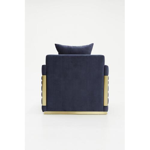 Divani Casa Tenaya Modern Blue Velvet & Gold Lounge Chair