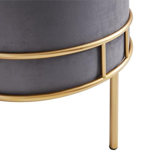 Lorient Velvet Fabric Tufted Round Ottoman, Serene Dark Gray/ Gold