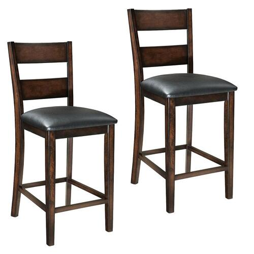"Pendwood 2-Pack 24"" Barstools with Upholstered Seat, Brown Cherry"