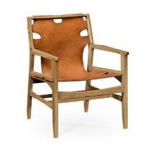 Midcentury style slung medium antique chestnut leather light oak easy chair
