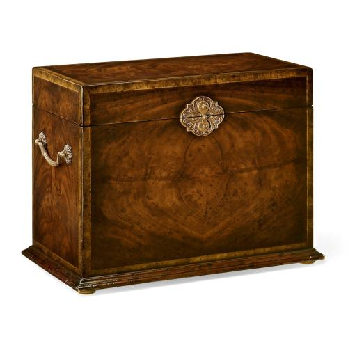Tall Square Crotch Mahogany Jewellery Box
