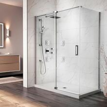 "60"" X 77"" X 32"" Pivot Shower Doors With Clear Glass - Chrome"