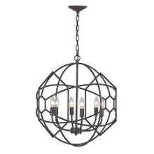 See Details - 6 LIGHT RUSTIC IRON ORB CHANDELIER WITH HONEYCOMB METAL WORK
