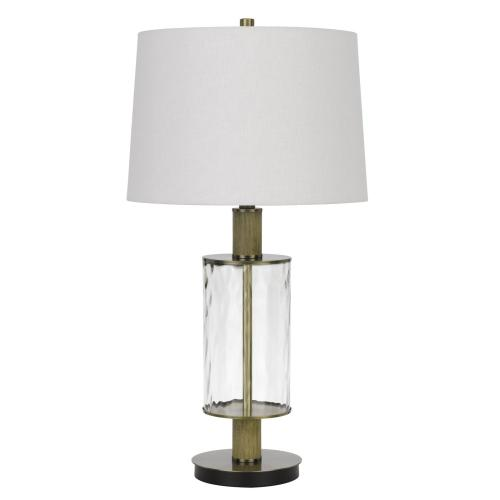 150W 3 way Morrilton glass table lamp with wood pole and hardback taper drum fabric shade