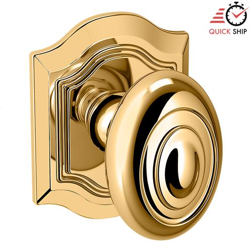 Baldwin - Non-Lacquered Brass 5077 Bethpage Knob with R027 Rose