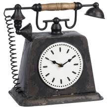 Distressed Black Vintage Phone Desk Clock