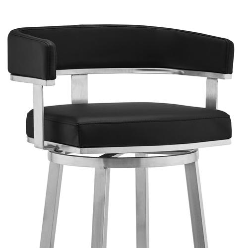 """Lorin 30"""" Black Faux Leather and Brushed Stainless Steel Swivel Bar Stool"""