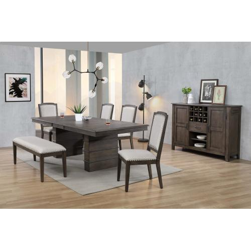 Extendable Dining Table Set w/Bench & Server- Cali Dining (7 Piece)