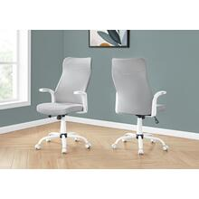 See Details - OFFICE CHAIR - WHITE / GREY FABRIC / MULTI POSITION