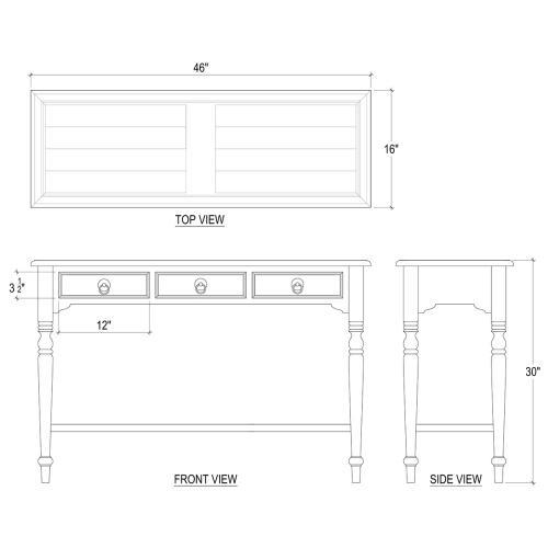Tucker 3 Drawer Sofa Table w/ Shelf