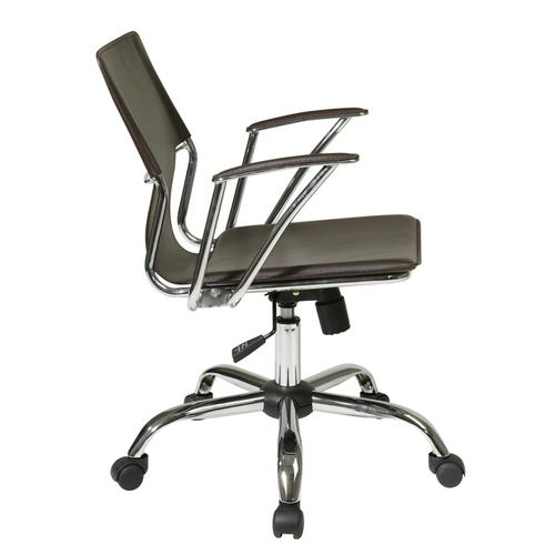 Dorado Office Chair With Fixed Padded Arms and Chrome Finish In Espresso