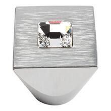 Crystal Square Knob 1 Inch - Matte Chrome