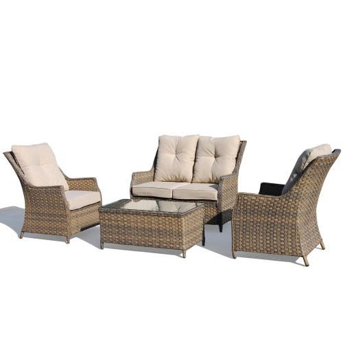 Charlotte Wicker Aluminum Conversation Group w/ Sunbrella cushions