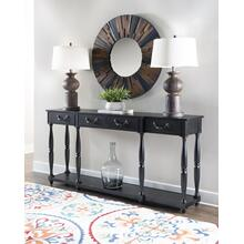 4-drawer and 1-shelf Console Table, Soho Black Crackle