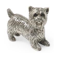 See Details - Antique White Brass Yorkshire Terrier Dog