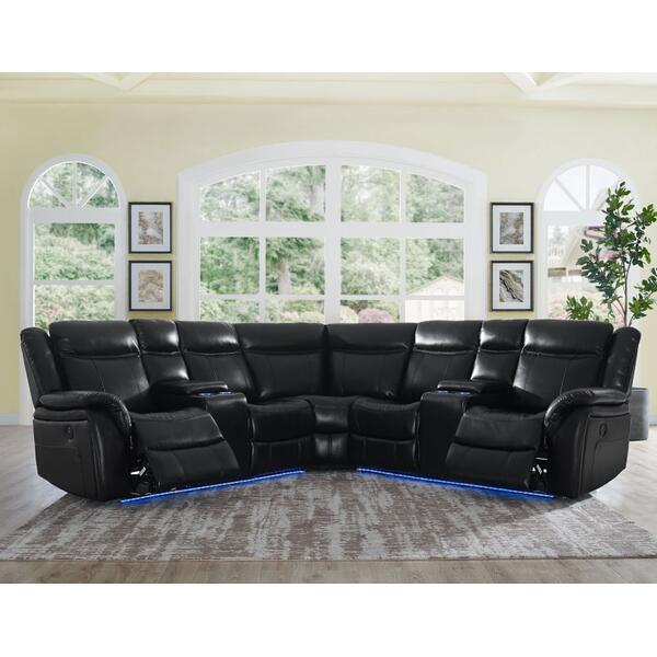 Levin Black 4-Piece Power Reclining Sectional