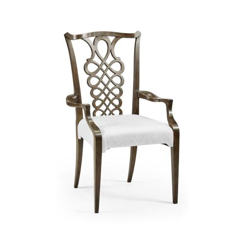 Buckingham Bleached Mahogany Dining Armchair with Ribbon Back, Upholstered in COM