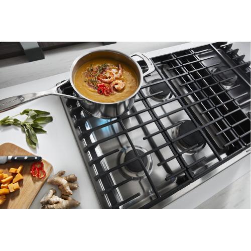 "KitchenAid - 36"" 5 Burner Gas Downdraft Cooktop - Stainless Steel"
