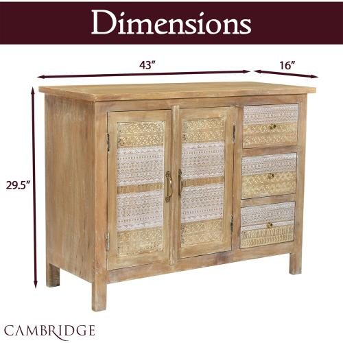 Cambridge Chandler 2-Door, 3-Drawer Storage Chest Console Table with Carved Accents, 43-In. W x 16-In. D x 29.5-In. H, 988011-WHT