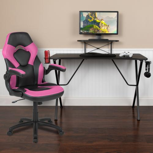 Flash Furniture - Black Gaming Desk and Pink\/Black Racing Chair Set with Cup Holder, Headphone Hook, and Monitor\/Smartphone Stand