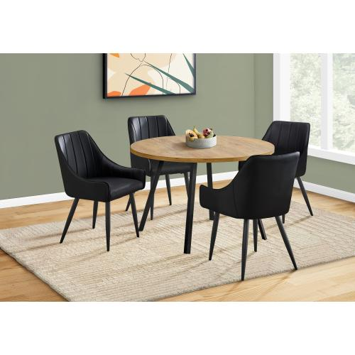 """Gallery - DINING TABLE - 48""""DIA/ GOLDEN PINE / BLACK METAL"""