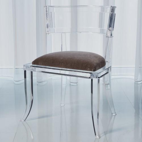 Klismos Acrylic Chair-Pewter