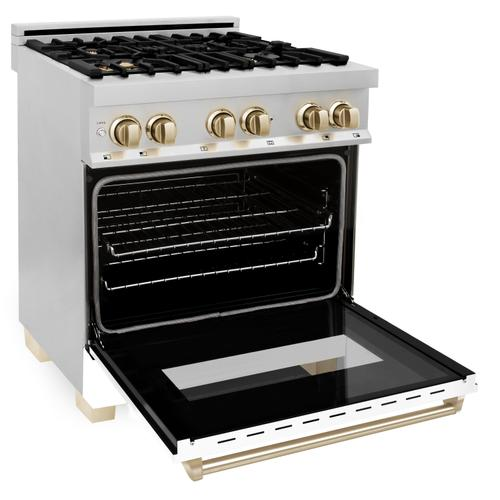 """Zline Kitchen and Bath - ZLINE 30"""" 4.0 cu. ft. Dual Fuel Range with Gas Stove and Electric Oven in Stainless Steel with White Matte Door and Accents (RAZ-WM-30) [Color: Matte Black]"""